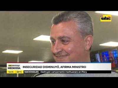 Inseguridad disminuyó, según ministro
