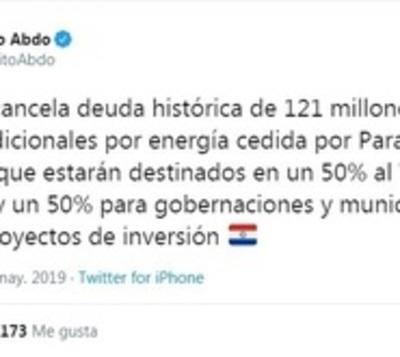Yacyretá cancela deuda histórica de USD 121 millones con Paraguay