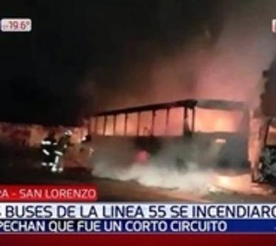 Ómnibus fueron consumidos por voraz incendio