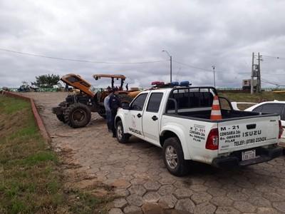 Pilar: atentaron contra tractor que utilizaban de motobomba