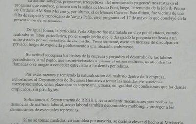 Piden sanciones para Vargas Peña por maltratar a sus colegas en ABC
