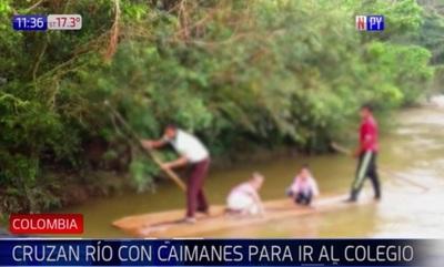 Cruzan caudaloso río con cocodrilos para llegar a la escuela