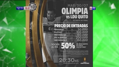 A la venta entradas para ver Olimpia vs Liga de Quito