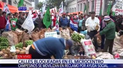 Labriegos cierran calles de microcentro de Asunción