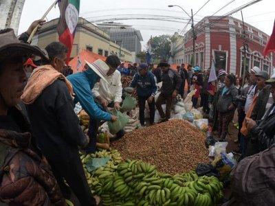 Campesinos movilizados donan 10.000 kilos de víveres a damnificados
