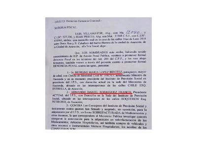 Oficializan denuncias contra Benigno y consejeros del IPS