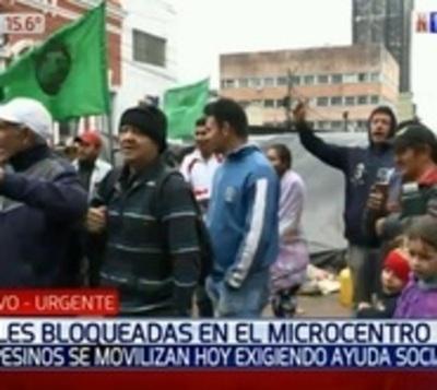 Cierre de calles en el microcentro por marcha de campesinos