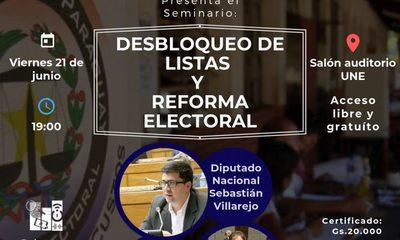Realizarán seminario sobre reforma electoral y desbloqueo de listas