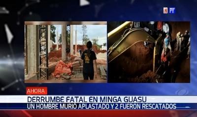 Hombre fallece aplastado tras derrumbe de obra en Minga Guazú