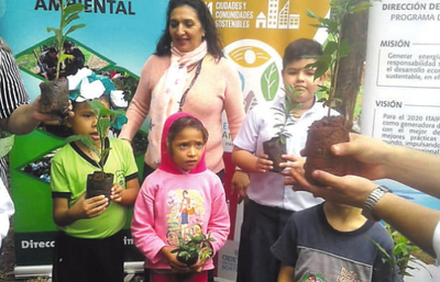 Niños plantaron unos 300 arbolitos en plaza