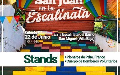 Preparan fiesta de San Juan en escalinata de Franco
