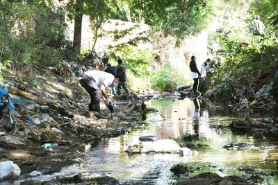 Limpian el arroyo Damián en Limpio
