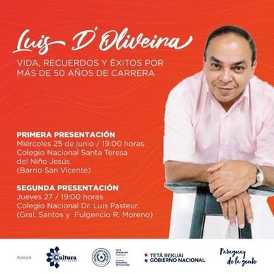 Obra sobre los 50 años de carrera de Luis D'Oliveira se presentará en colegios