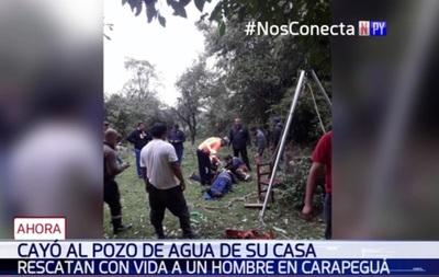 Bomberos héroes salvaron a hombre que cayó a pozo