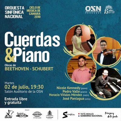 Hoy, ciclo de cámara de la OSN con obras de Beethoven y Schubert