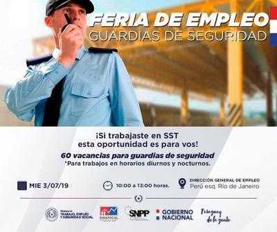 Anuncian unas 60 vacancias para Seguridad Privada en Feria de Empleo