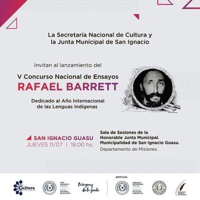 Lanzarán el V Concurso Nacional de Ensayos Rafael Barrett en San Ignacio