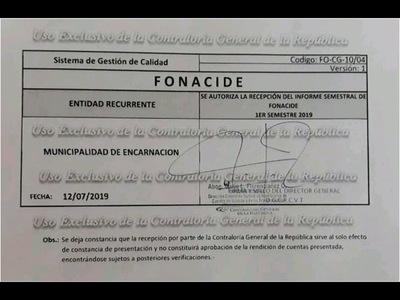 MUNICIPIO ENCARNACENO CUMPLE CON LA PRESENTACIÓN DE INFORME SEMESTRAL DE FONACIDE