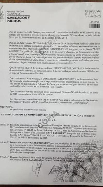 ANNP rescinde contrato con consorcio Gate Paraguay