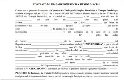 "Trabajo doméstico parcial: MTESS ""colgó"" en la web el modelo de contrato"