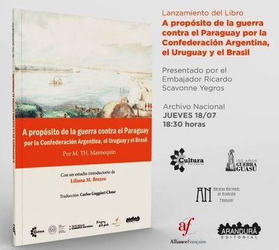 Hoy presentarán libro acerca de la Guerra contra el Paraguay