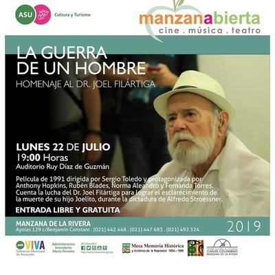 "En homenaje a Joel Filártiga se proyectará hoy ""La Guerra de un Hombre"" en la Manzana de la Rivera"