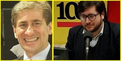 Vergonzoso. Benito Fleitas y Hector Riveros a tongazos en pleno programa radial.