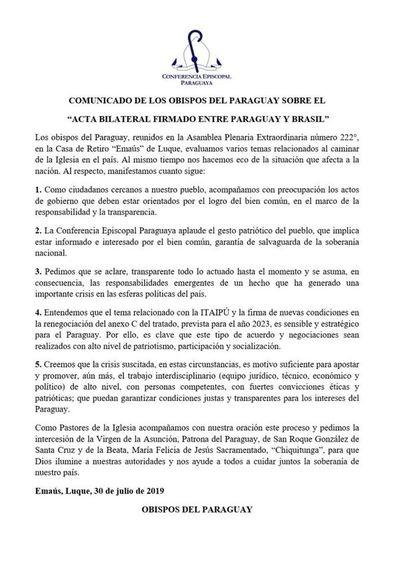 Obispos piden patriotismo y personas éticas tras acuerdo por Itaipú