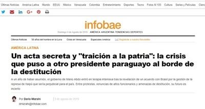 """Futuro del gobierno de Abdo es """"incierto"""", afirma medio argentino"""