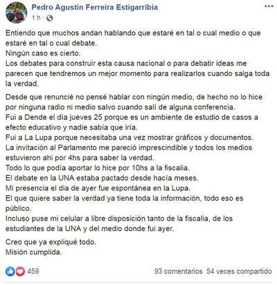 Pedro Ferreira desmiente debate con el vicepresidente