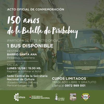 Conmemorarán los 150 años de la Batalla de Piribebuy