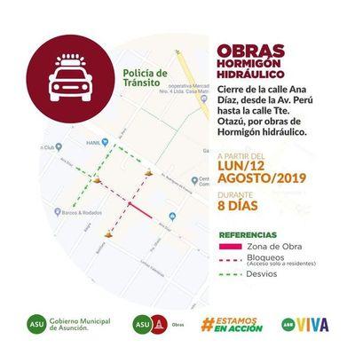 Por obras de hormigón hidráulico, cerrarán parte de la calle Ana Díaz durante 8 días