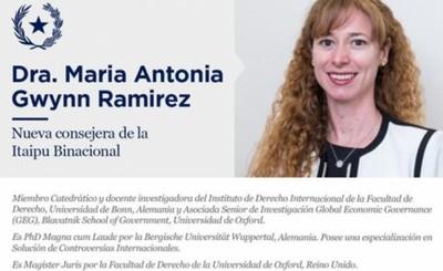 María Antonia Gwynn es nueva consejera de Itaipu
