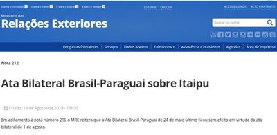 "Brasil ratifica que acta bilateral ""quedó sin efecto"""