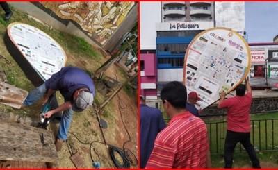 Comuna retira carteles publicitarios irregulares en el microcentro