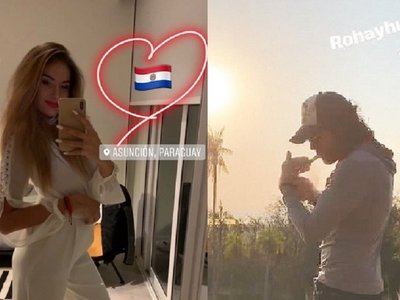 Mario Cimarro y su chica'i disfrutan del Paraguay