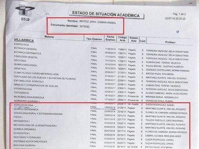 Denuncian que concejal cursó en tiempo récord Ingeniería en UTCD