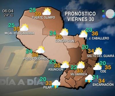 Se espera un ambiente caluroso con precipitaciones al final del día