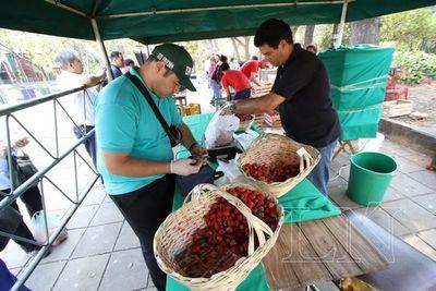 Feria de productos hortigranjeros frente a la ANDE