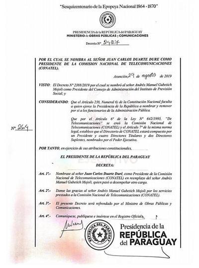 Ejecutivo nombra nuevo presidente de Conatel