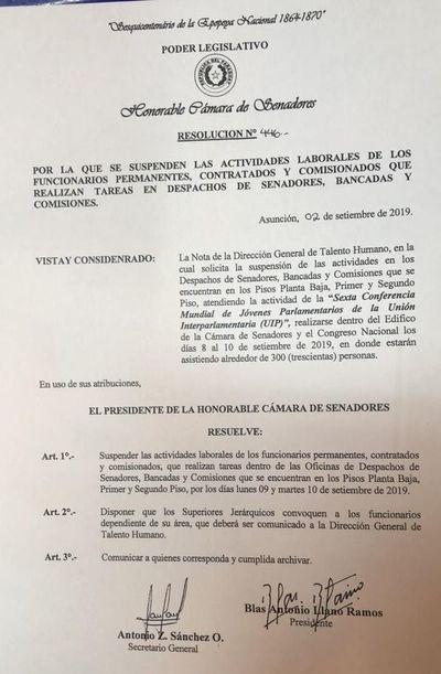 Cámara de Senadores: funcionarios no trabajarán por dos días