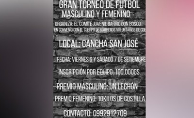 Organizan torneo para construcción de Cuartel de Bomberos en Don Bosco