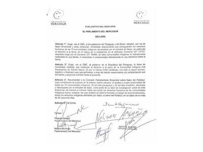 Parlasur: Instan a que Itaipú pague su deuda con  indígenas que afectó