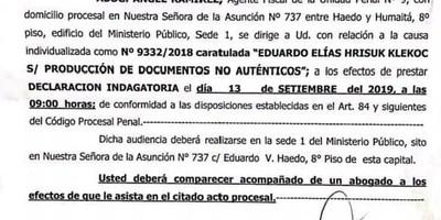 FISCALÍA CONVOCA A DECLARACIÓN INDAGATORIA A EDUARDO HRISUK