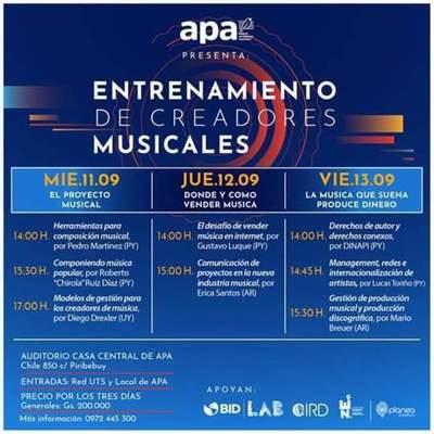 APA: Harán capacitación para creadores musicales