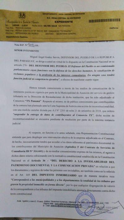 Defensor del Pueblo cuestionó a Ferreiro por concesión al Consorcio TX Panamá