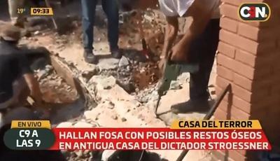 Hallan más restos óseos en antigua casa de Stroessner