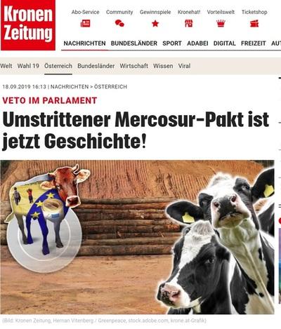 """El acuerdo UE-Mercosur """"ya es historia"""" según principal medio austríaco"""