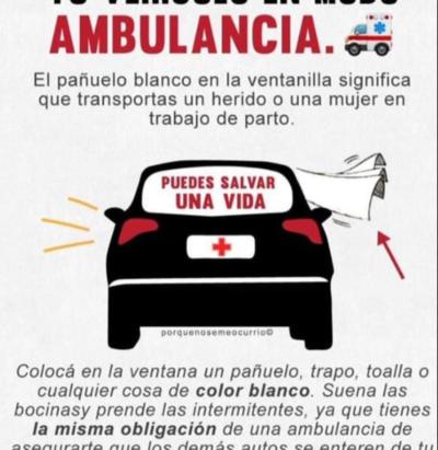 Recomiendan limitar uso del pañuelo blanco en modo ambulancia