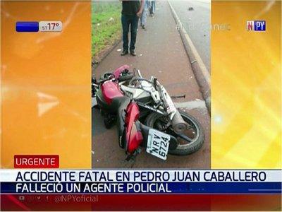 Policía choca contra su camarada y muere en Pedro Juan Caballero